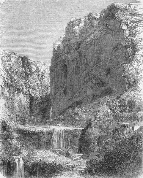 Associate Product ALGERIA. Falls of Rummel, in, antique print, 1859