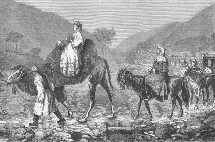 Associate Product CHINA. Part. Travelling in-Mongols going to Beijing, antique print, 1873