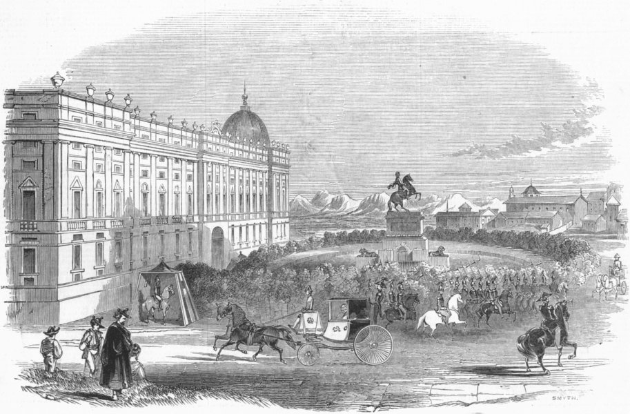 Associate Product SPAIN. The Royal palace, Madrid, antique print, 1845