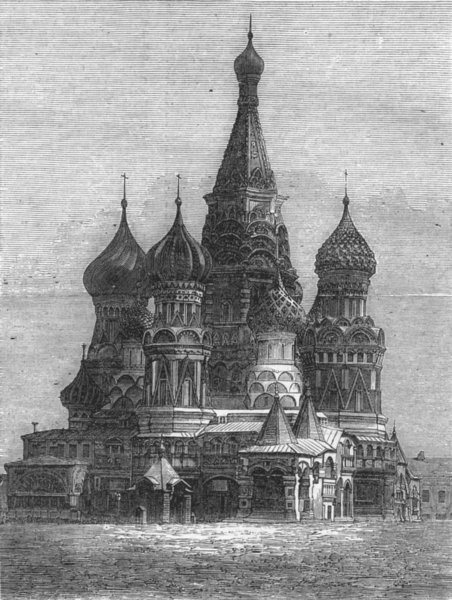 Associate Product RUSSIA. Fete, Moscow. Church Wassili-Blagenny , antique print, 1874
