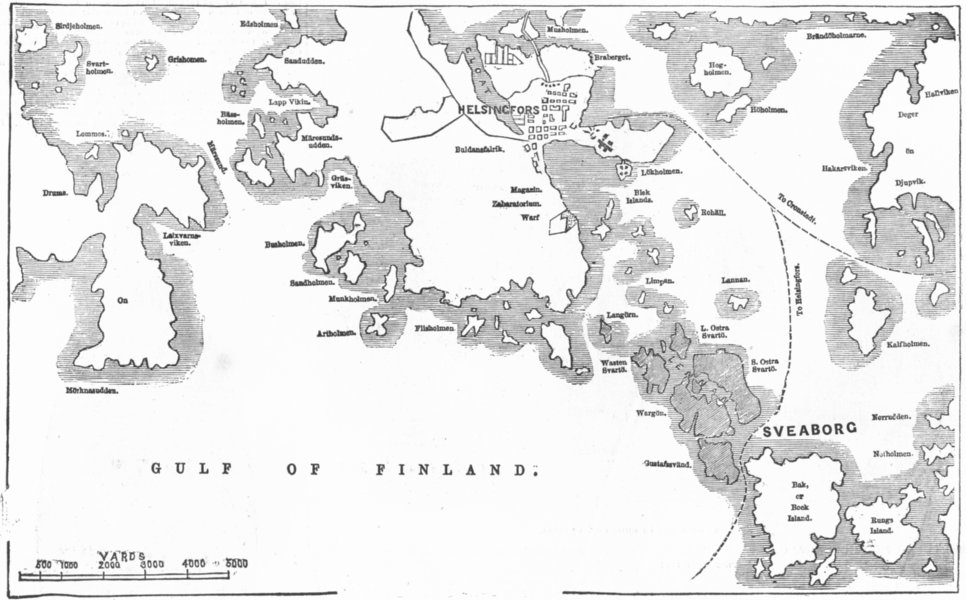 Associate Product FINLAND. Situation of Suomenlinna, 1854 map