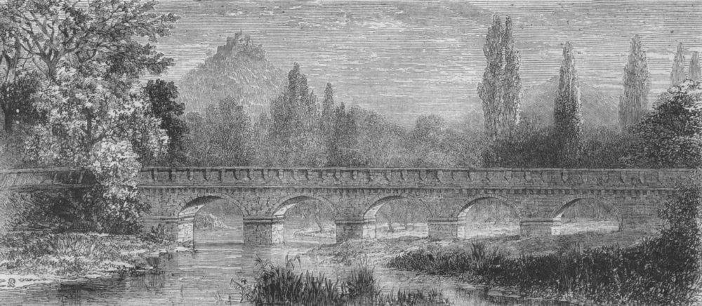 Associate Product KISSINGEN. Bridge over Saale; Kullmann Bismarck, antique print, 1874