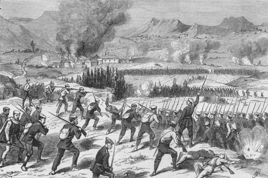 Associate Product ESTELLA. Carlists attacking Republicans, Zabal, antique print, 1874