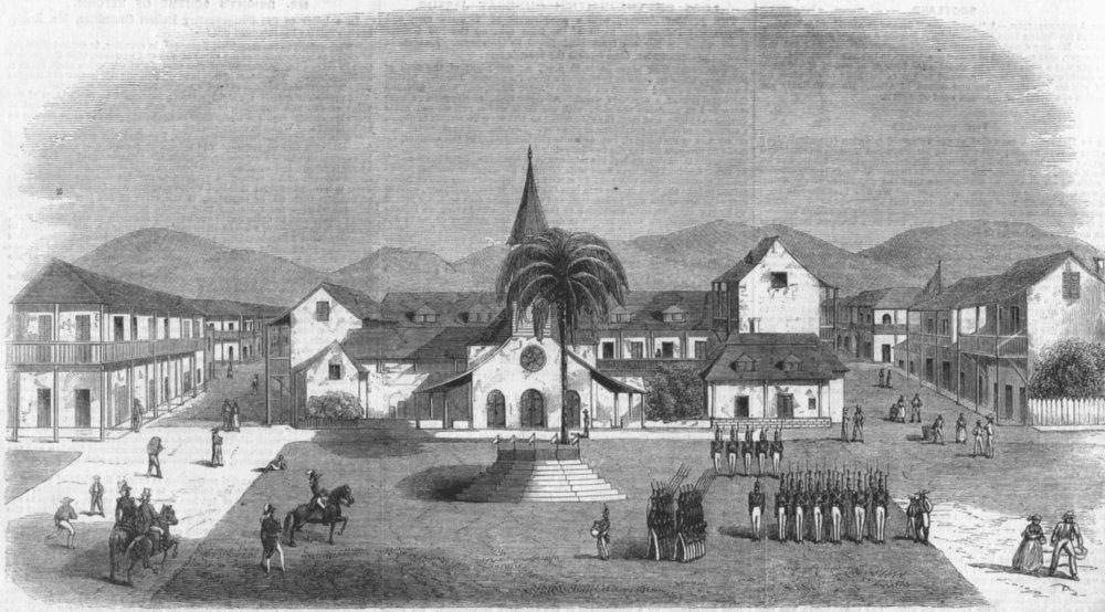 Associate Product BUILDINGS. House of general Geffrard, Auxlarges, antique print, 1859