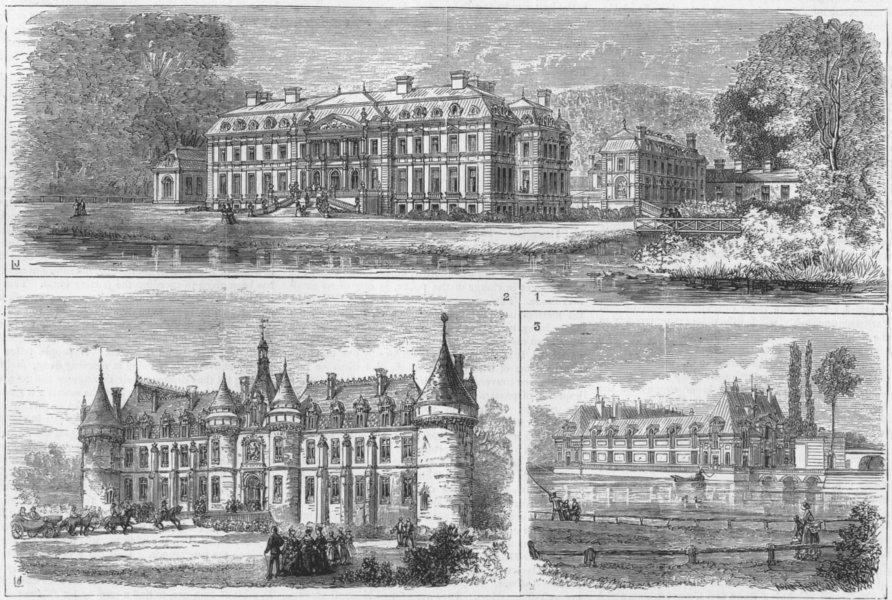 Associate Product FRANCE. Dampierre-Luynes; Esclimont; Chantilly-Aumale, antique print, 1874