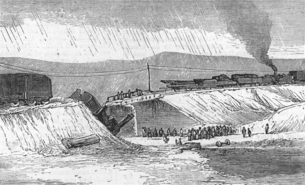 Associate Product CARTAGENA. Fobarra bridge, Chinchilla line(Carlists), antique print, 1874