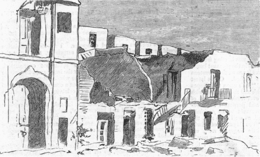 Associate Product SPAIN. Cartagena post insurrection. Opp. arsenal, antique print, 1874