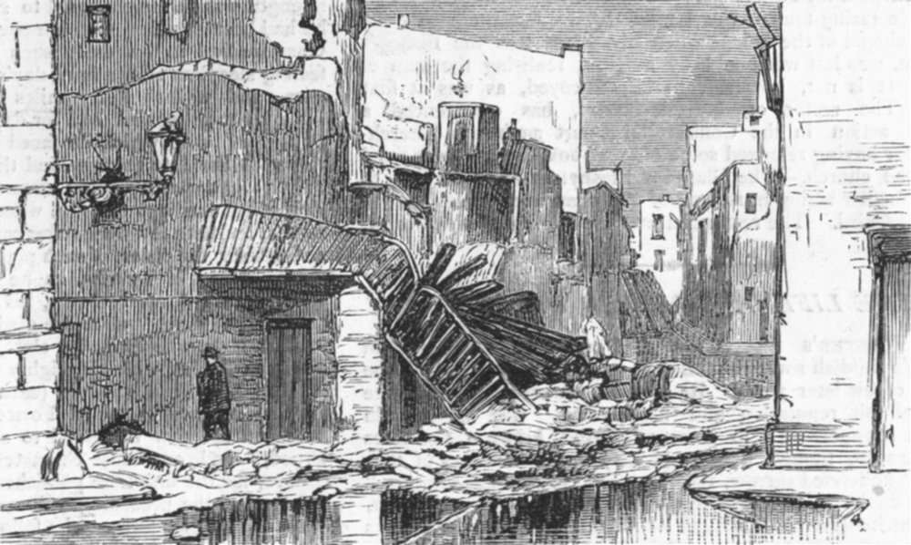 Associate Product CARTAGENA. insurrection. Ruins, place of constitution, antique print, 1874