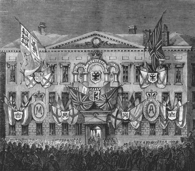 Associate Product RUSSIA. British embassy, St Petersburg, lit up, antique print, 1874