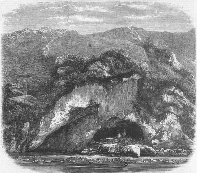 Associate Product FRANCE. The grotto of Bagneres, antique print, 1858