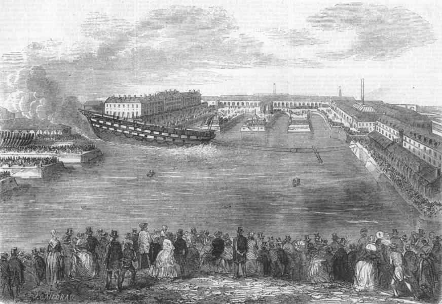 Associate Product FRANCE. Launch. Ville De Nantes, Cherbourg, antique print, 1858
