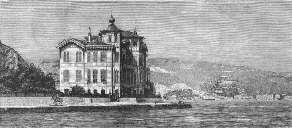 Associate Product TURKEY. Summer House of British embassy, Tarabya, antique print, 1877
