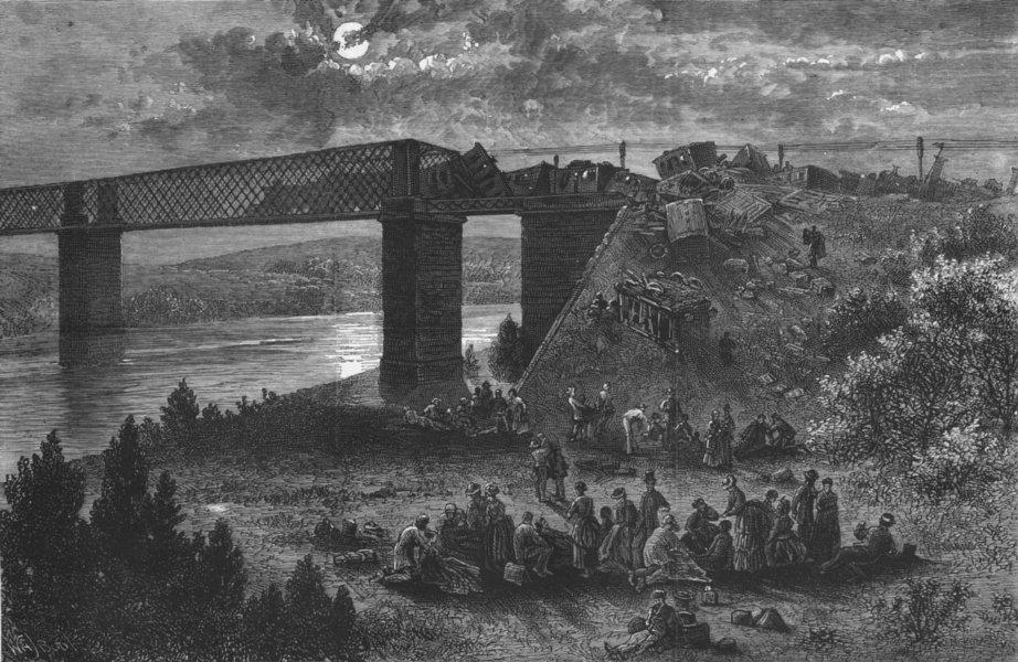 Associate Product SPAIN. Bridge of Viana, Douro-railway accident, antique print, 1873