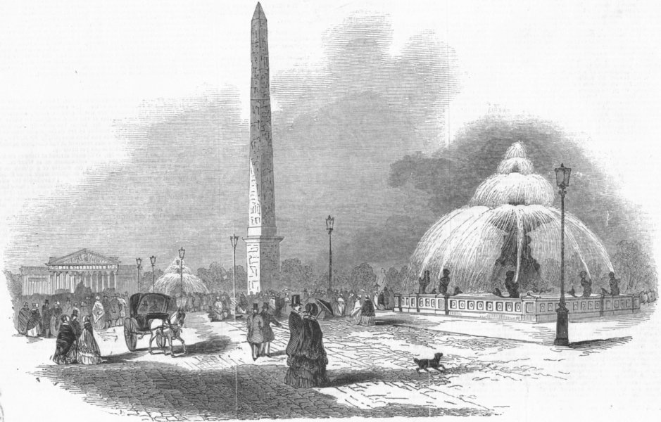 Associate Product FRANCE. Place De La Concorde, Paris, antique print, 1845