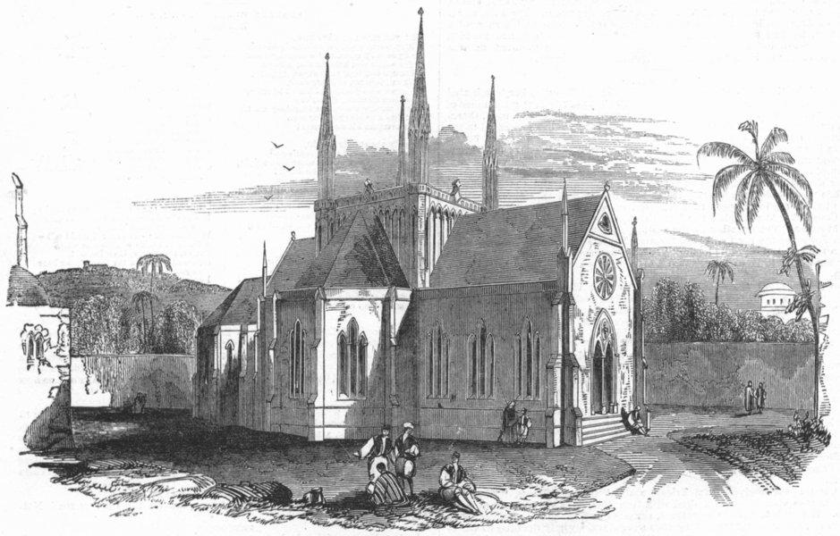 Associate Product ISRAEL. Designed protestant Church, Mount Zion, antique print, 1845