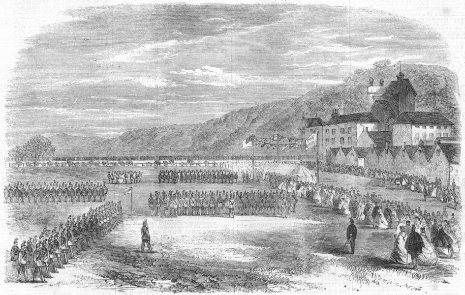 Associate Product WALES. Vale of Neath rifle corps marching, antique print, 1860