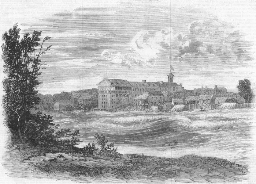 Associate Product NIAGARA FALLS. Rapids above American, antique print, 1860