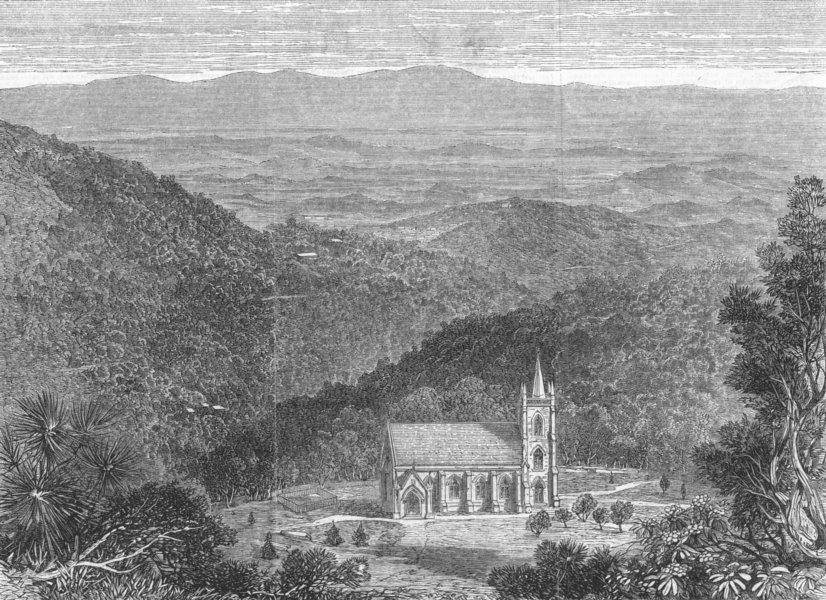 Associate Product INDIA. Dhurumsalla Churchyard, Viceroy's grave, antique print, 1864