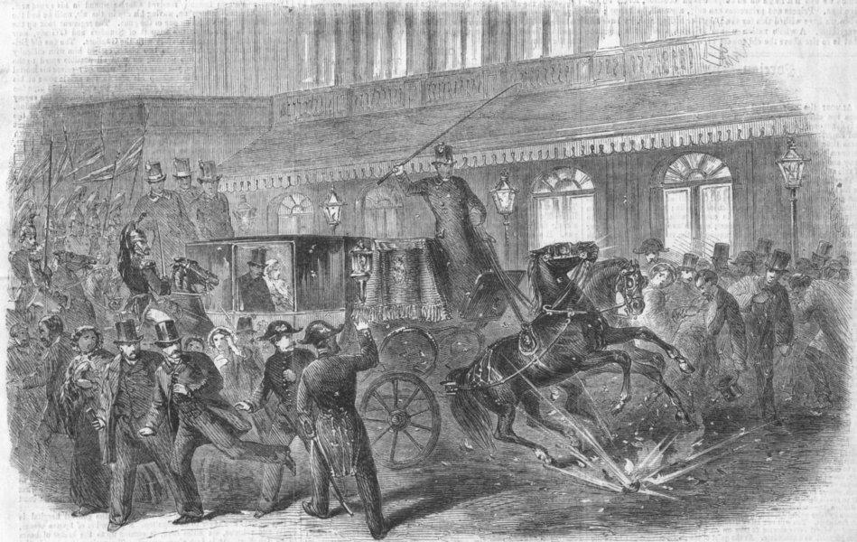 Associate Product PARIS. Failed assassination, Emperor, Rue Lepelletier, antique print, 1858