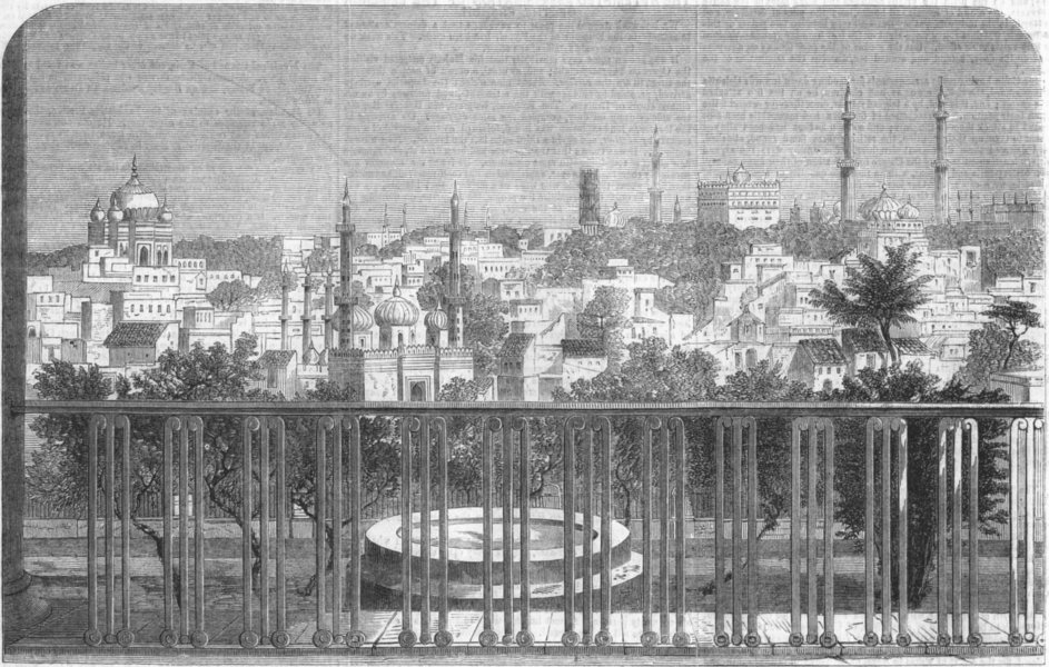 Associate Product INDIA. Lucknow, Balcony of Residency, antique print, 1858