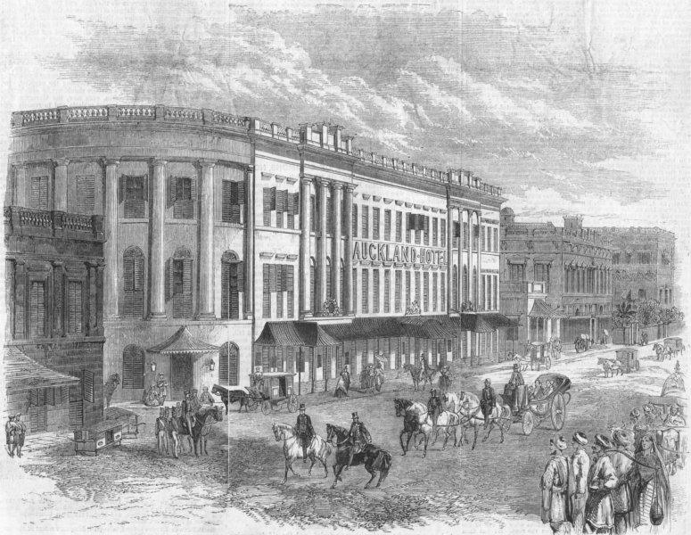 Associate Product NEW ZEALAND. Auckland Hotel, Kolkata, antique print, 1858