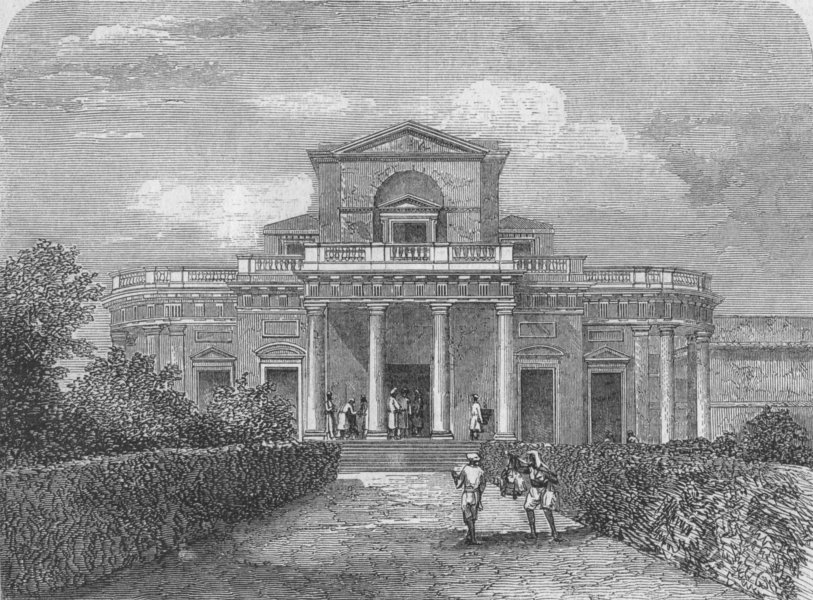 Associate Product INDIA. Capt Simpson's house, Lucknow, antique print, 1858