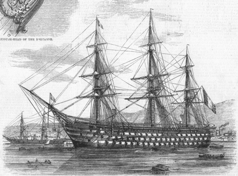 Associate Product CHERBOURG. Britagne, 130 guns, flagship of Adm fleet, antique print, 1858