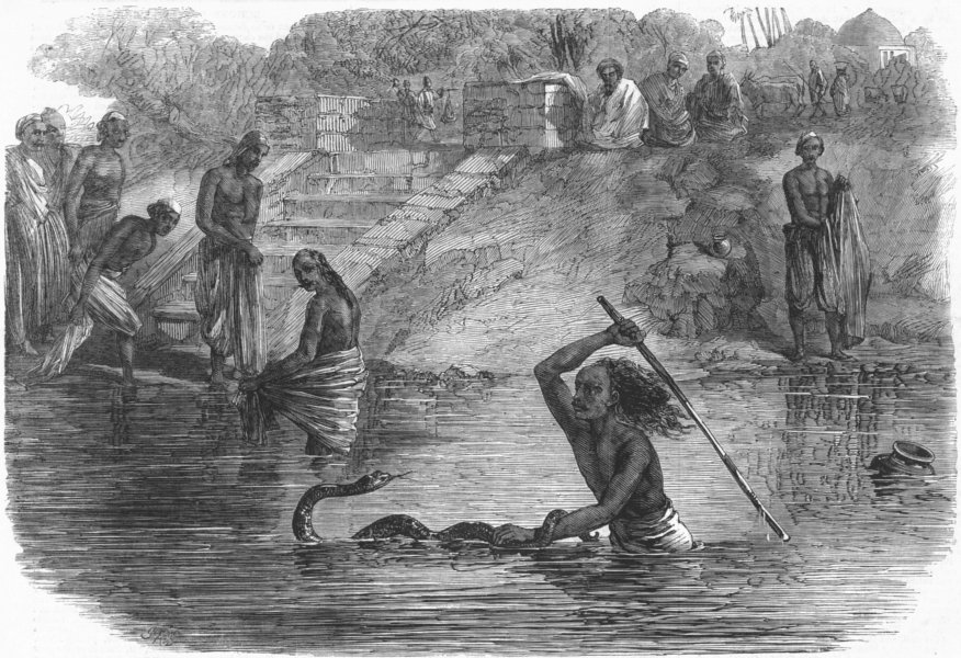 Associate Product INDIA. Hindu bathers, river Yamuna surprised, snake, antique print, 1864