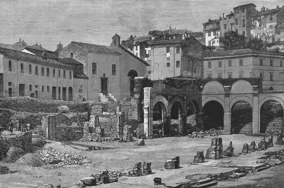 Associate Product ROME. Discovered Basilica Giulia, antique print, 1872