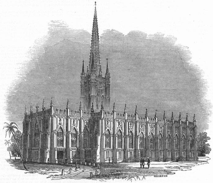 Associate Product LONDON. St Paul's Cathedral, Kolkata, antique print, 1845