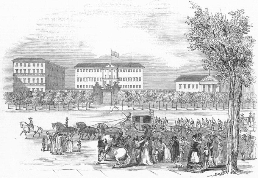 Associate Product MADRID. Queen passing La Buena Vista, in Alcala, antique print, 1845