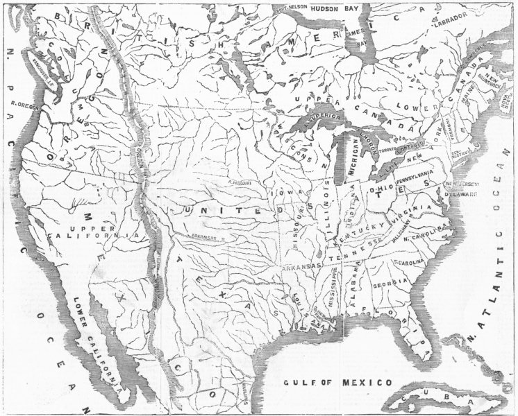 Associate Product NORTH AMERICA. Texas, Oregon, USA, 1845 map
