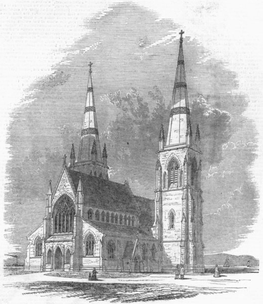 Associate Product CANADA. Fredericton Cathedral, New Brunswick, antique print, 1849