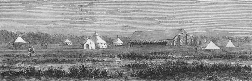Associate Product INDIA. Cholera camp, Bheekawal , antique print, 1873