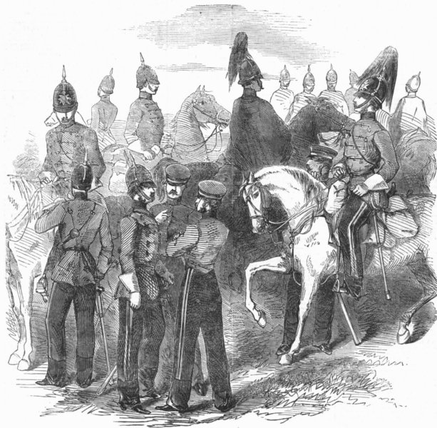 Associate Product MILITARIA. New cavalry corps-Mounted staff, antique print, 1854