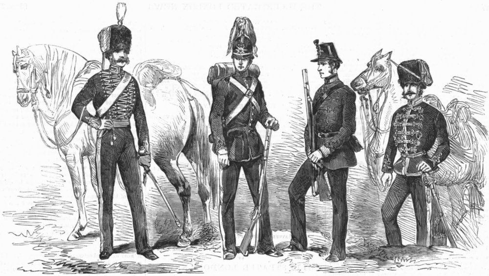 Associate Product MILITARIA. New dresses for artillery, antique print, 1854