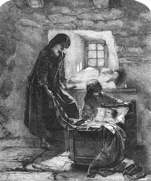 CHILDREN. Cradle, antique print, 1856