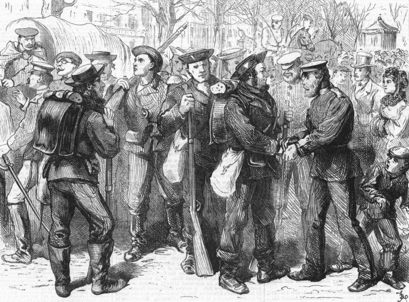 Associate Product FRANCE. Prussian sailors, Versailles, antique print, 1871