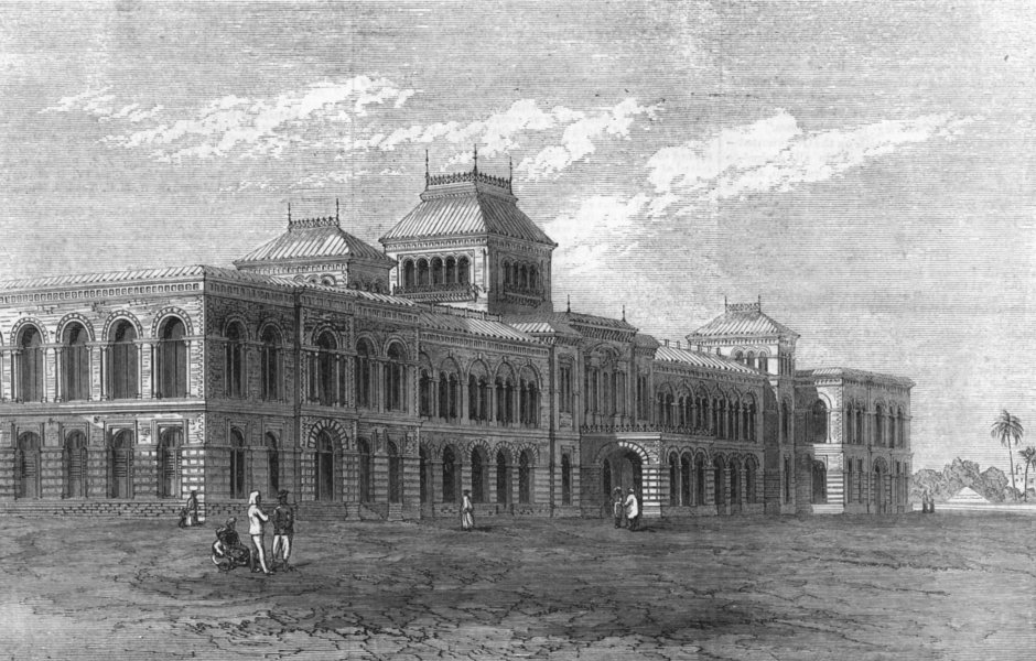 Associate Product INDIA. The presidency college, Chennai, antique print, 1872