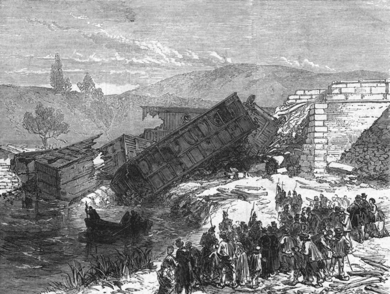 Associate Product ANTIBES. Railway accident, Cannes. Dragging for dead, antique print, 1872