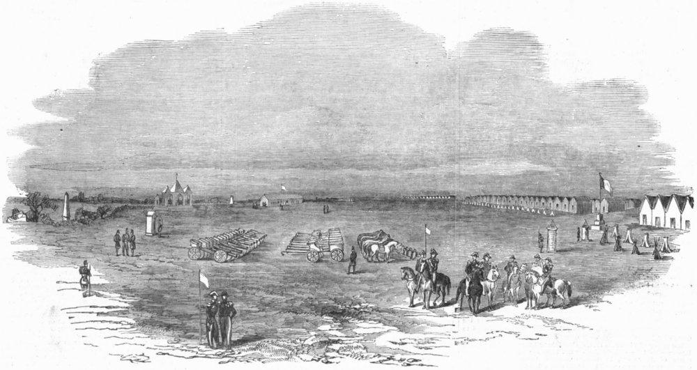 Associate Product FRANCE. Camp, Helfaut Park of artillery, antique print, 1853