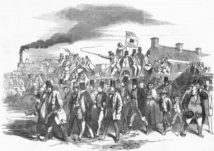 Associate Product SURREY. The arrival at Epsom, antique print, 1847