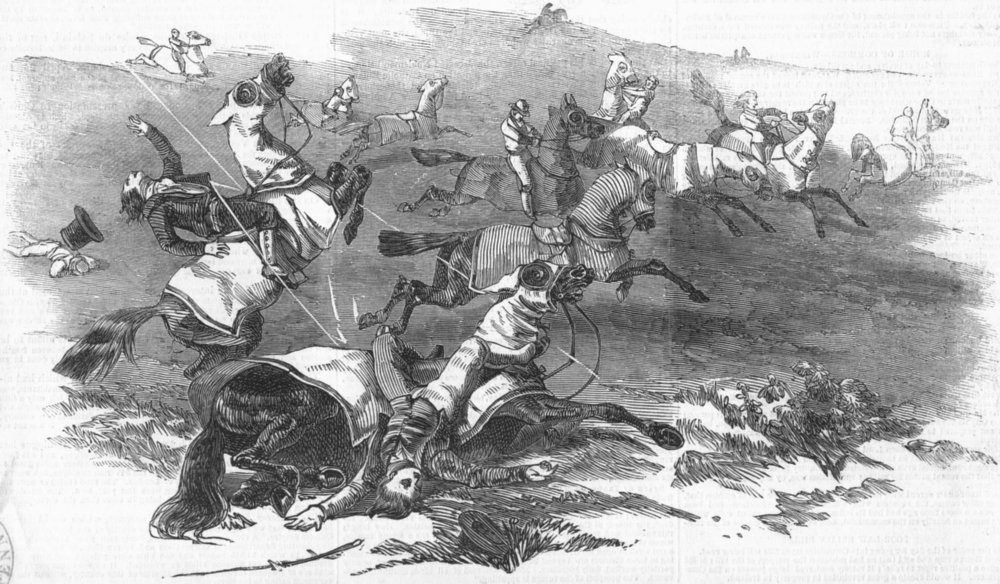 Associate Product YORKS. Horses hit, lightning, Middleham moor, antique print, 1847