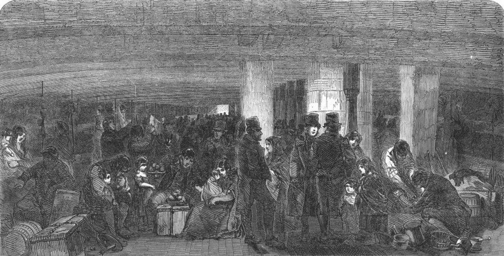 Associate Product SHIPS. Scene between decks, antique print, 1850