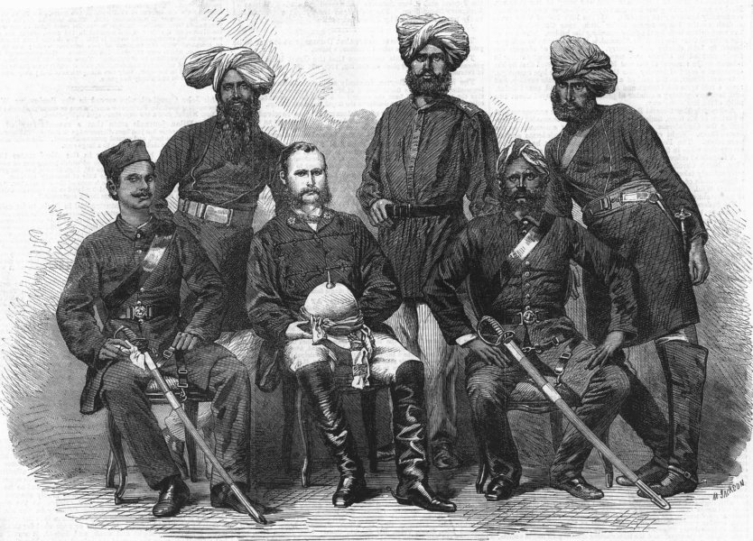 Associate Product INDIA. Police force newly organised in Bengal, antique print, 1864