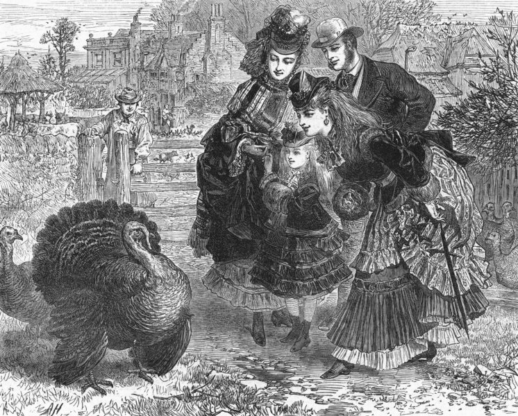Associate Product FAMILY. Turkey Christmas season's greetings, antique print, 1871