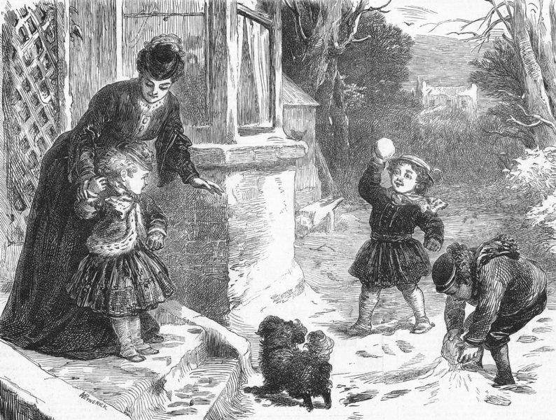 Associate Product CHILDREN. The first snowball, antique print, 1871