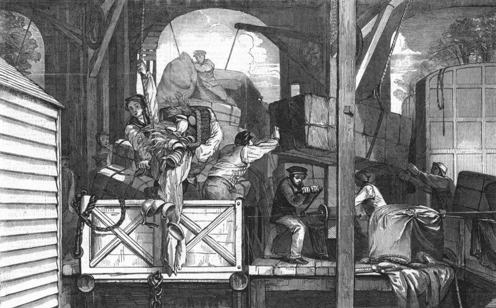 Associate Product GLOUCESTER. Moving goods, change of gauge, train, antique print, 1846