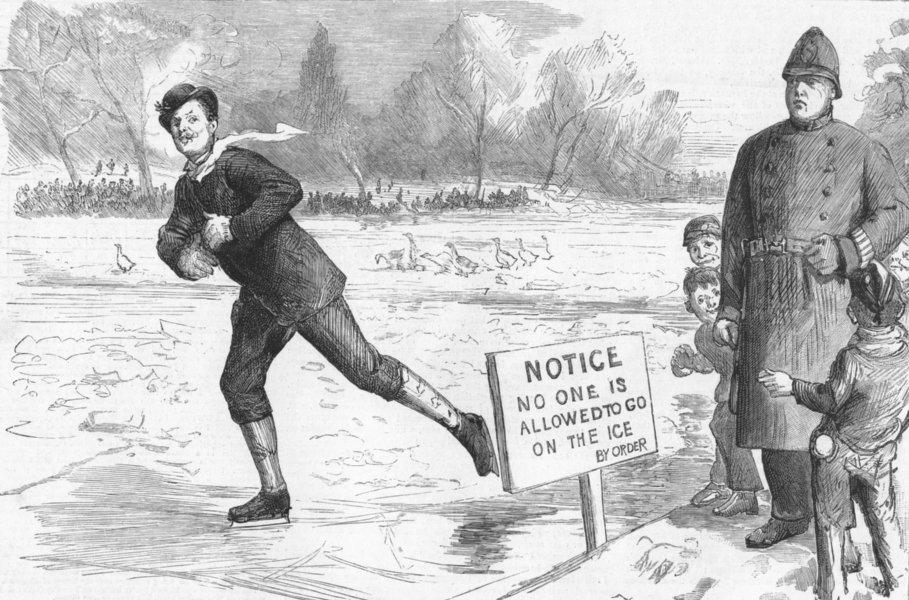 Associate Product LONDON. Danger!-St Jamess Park frost & snow-storm, antique print, 1886