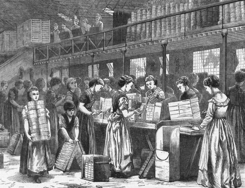 Associate Product MANUFACTURING. Match-makers, east end, antique print, 1871